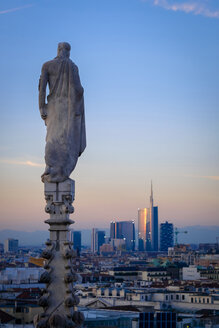 Italy, Milan, view from roof of the dome with statue to financial district with Uni Credit skyscraper - HAMF000027