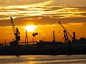 Germany, Hamburg, Silhouettes of harbour cranes at sunset, Koehlbrand bridge in the background - KRPF001408