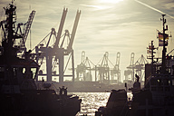 Germany, Hamburg, Port of Hamburg, Harbour cranes and towboats at sunset - KRPF001417
