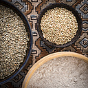 Bowls of rye grains, buckwheat grains and whole grain wheat flour - DISF001468