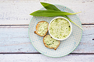 Ramson butter, ramson, and slices of baguette - LVF003136