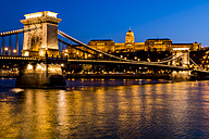 Hungary, Budapest, chain bridge and castle in the evening - EJWF000733