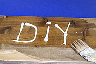 White acrylic paint building the Word DIY on a plank - CMF000241