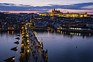 Czech Republic, Prague, cityscape with Charles Bridge at dusk - HAM000035