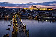 Czech Republic, Prague, cityscape with Charles Bridge at dusk - HAM000035