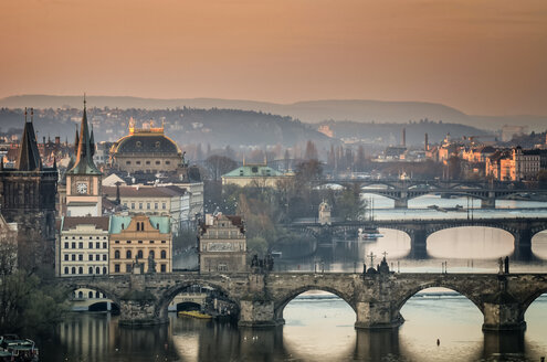 Czech Republic, Prague, cityscape with Charles Bridge at dawn - HAMF000031