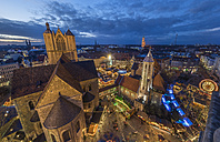 Germany, Lower Saxony, Braunschweig, Christmas market in the evening - PVCF000390