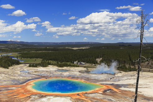 USA,  Yellowstone National Park, Lower Geyser Basin, Midway Geyser Basin, Grand Prismatic Spring, elevated view - FOF008068