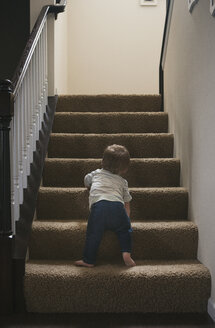 Little boy learning to go up a staircase - SELF000030