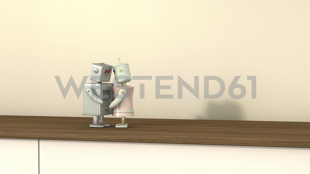 Male and female robot face to face, 3D rendering - UWF000433 - HuberStarke/Westend61