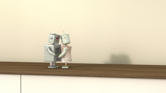 Male and female robot face to face, 3D rendering - UWF000433