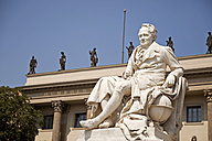 Germany, Berlin, statue of Alexander von Humboldt outside the Humboldt University - PCF000152