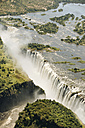 Border of Zimbabwe and Zambia, aerial view of Victoria Falls - CLPF000087