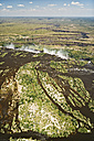 Border of Zimbabwe and Zambia, aerial view of Zambezi River at Victoria Falls - CLPF000088