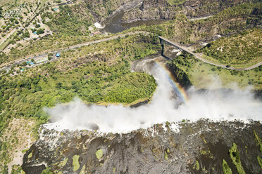 Border of Zimbabwe and Zambia, aerial view of Victoria Falls - CLPF000090