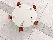 View to round conference table from above, 3D Rendering - UWF000437