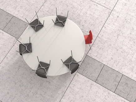 View to round conference table from above, 3D Rendering - UWF000440