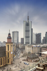 Germany, Hesse, Frankfurt, Skyline at night with Hauptwache and financial district - NK000237