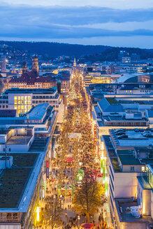 Germany, Stuttgart, shopping mile Koenigstrasse at Christmastime - WDF003079