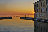 Italy, Punta san Vigilio, sunset over Lake Garda - MRF001640