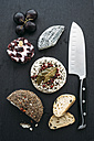 Different sorts of goat's cheese on slate - IPF000217