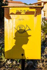 Greece, Corfu, shadow of boy on mailbox - EGB000001