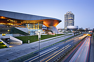 Germany, Bavaria, Munich, BMW World and BMW Tower at blue hour - BR001211
