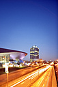 Germany, Bavaria, Munich, BMW World and BMW Tower at blue hour - BR001214