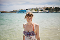 Spain, Mallorca, Porto Christo, portrait of woman wearing swimsuit - MFF001589