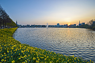 Germany, Hamburg, Binnenalster at sunset - RJF000432