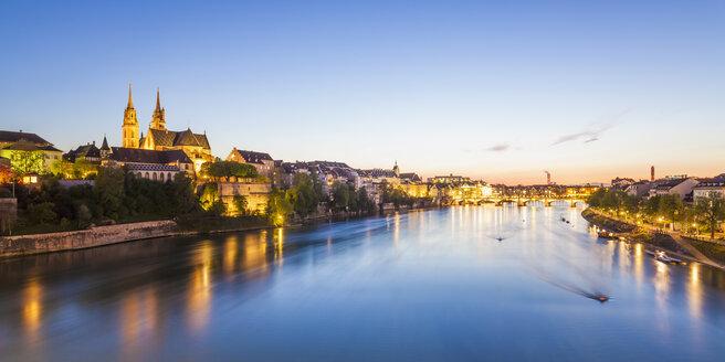 Switzerland, Basel, city view and Rhine at dusk - WDF003097