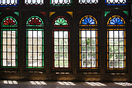 Iran, Shiraz, stained-glass windows at the Qavam House in the Bagh-e Naranjestan garden - FL000965