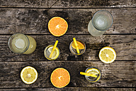 Carafes and glasses of homemade lemonade and orangeade - SARF001773