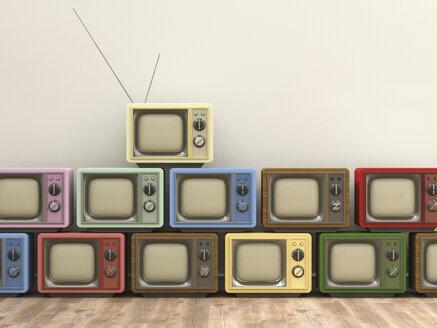 3D Rendering, old tv sets - UWF000468