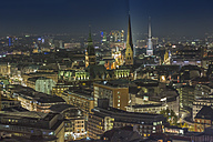 Germany, Hamburg, view from the tower of the St Michael's Church at the city by night - NKF000260