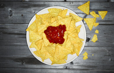 Plate of cheese nachos with salsa - KSWF001521