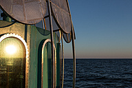 Germany, Mecklenburg-Western Pomerania, Baltic Sea, diving bell at the pier of Zinnowitz at dawn - ASCF000167