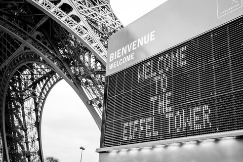France, Paris, view to welcome sign at Eiffel Tower - HSKF000039
