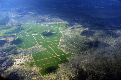 South America, Brasil, Bahia, View to sugar cane plantation, aerial view - FLKF000609