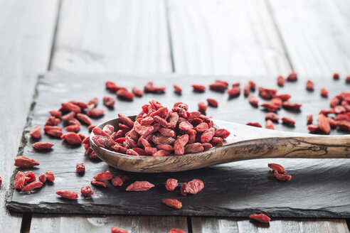 Wooden spoon with goji berries on a slate, superfood - SBDF001888