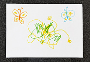Child's drawing of butterflies on paper - MFF001635