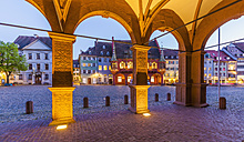 Germany, Baden-Wuerttemberg, Freiburg, Old town, Munster Square, historical department store and restaurants, blue hour - WDF003124