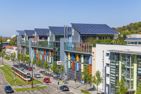 Germany, Freiburg im Breisgau, Energy-plus-houses at Freiburg-Vauban - WD003133