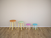 Four stools in a row, 3d rendering - UWF000485