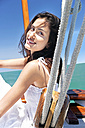 Brunette young woman on a sailing ship - TOYF000842