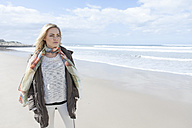 South Africa, Cape Town, woman standing on the beach - ZEF005267