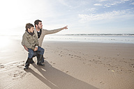 South Africa, Witsand, father and son on the beach - ZEF005297