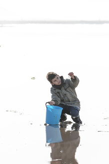 Boy with blue bucket on the beach - ZEF005306