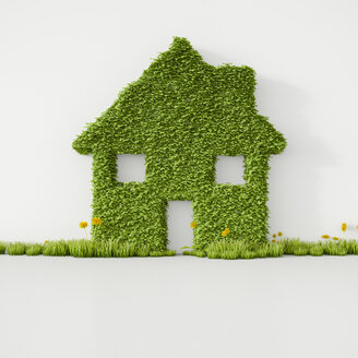 3D Rendering, House from grass on wall, copy space - UWF000490