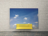 Yellow bench in front of billboard with sky and clouds - UWF000493